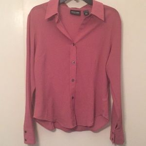 New York & Company Tops - NY&Co pink sheer fitted button down blouse size L